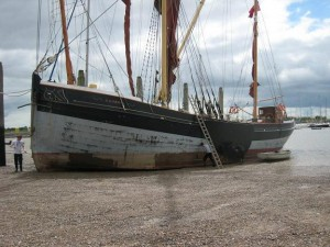 Beached on Brightlingsea Hard; Photo by John White of SSBR