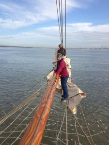 Julie B on the bowsprit