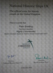 Highly Commended certificate
