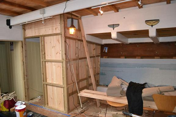 The New Cabin in Cambria's hold under construction