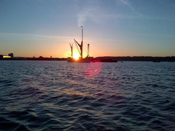 Cambria moored in a Medway sunset