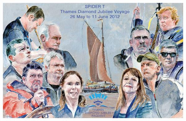 Humber Sloop, Spider T crew post card by Lesley Everatt