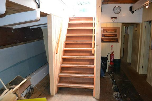 Stairs down into our main hold, now beautifully boxed in